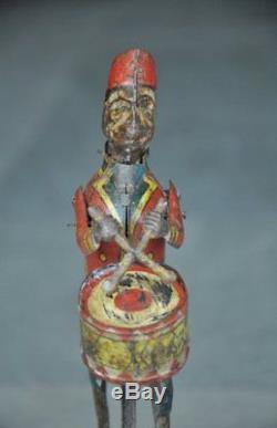 Vintage Wind Up Monkey Playing Drum Tin Toy, Japan