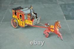 Vintage Wind Up ORBOR Brand Litho Chariot Tin Toy, Germany