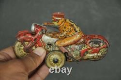 Vintage Wind Up Racer No. 8 Acrobet Litho Motorcycle Tin Toy, Japan