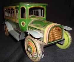 Vintage Winding Big Size Tin Motor Bus Japan 1920 Rare