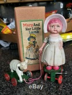 Vintage Windup Celluloid Mary and Her Little Lamb Toy with Box 1930s Tokyo Japan