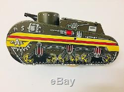 Vintage Working Marx Tin Litho Windup US Army Doughboy Tank 1950s Toy With Key