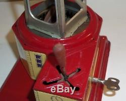 Vintage Working Tin Litho Wind-up Crane Wwii Era Made In Germany Us Zone