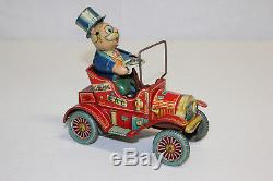 Vintage Yonezawa Y Japan Tin Litho Wind Up Grandpa's New Car EX Must L@@K