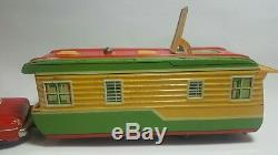 Vintage Yonezawa Y Japan Tin Trailer House And Car