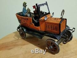 Vintage antique tin wind up Amos & Andy Open Air Taxi