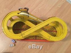 Vintage circa 1940's J. CHEIN Tin Litho Windup Roller Coaster