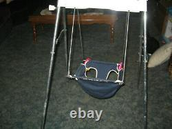 Vintage windup manual hand crank baby seat swing. Removable toys. Works