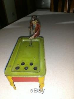 Vintage windup tin Billiards pool German 1900's toy game mechanical