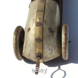 Vtg 1930's Buffalo Toy Company Marx Silver Dash Winder Race Car Racer Tin Toy