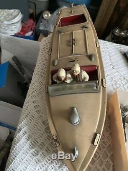 Vtg Art Deco 1935 Pre-War Lionel Craft Speedster Wind Up Racing Boat Toy Working