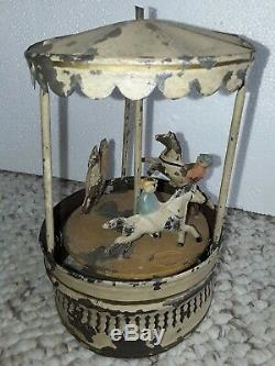 Vtg. Gunthermann antique tin Wind-Up CAROUSEL Toy merry go round GESENIA antique