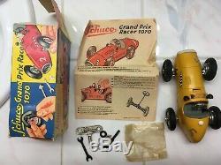 Vtg Schuco Grand Prix Racer Yellow Car 1070 Toy Germany Key Manual Tools Box