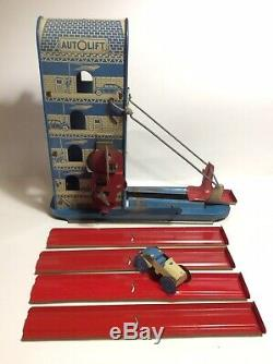 Vtg Wolverine Tin Wind-Up AUTOLIFT Toy Car Playset Sunny-Andy Mechanical WORKS