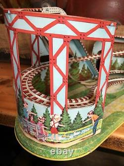 WORKING Vintage TIN LITHO J. Chein Roller Coaster Wind-Up Excellent Condition