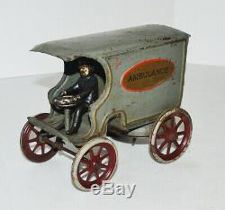 Wilkins Pressed Steel -Wind-Up Ambulance With Driver Early 1900'S Rare