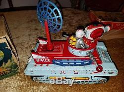 Yonezawa RARE Vintage Moon Patrol X-5 Space Vehicle Tin Litho Toy WORKING